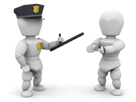 arrested: 3D render of a policeman with a criminal