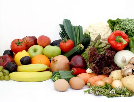 Large display of vaus fruit and vegetables Stock Photo - 3238224