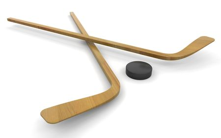 icehockey: 3D render of ice hockey sticks and puck