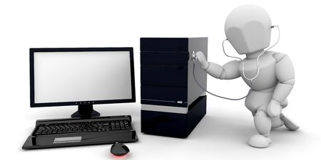 health check: 3D render of someone giving a computer a health check