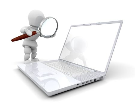 3D render of someone looking at a computer through a magnifying glass