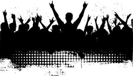 Silhouette von einer Menschenmenge mit Grunge-Effekt hinzugefügt  Vektorgrafik
