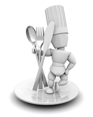 knive: 3D render of a chef with cutlery