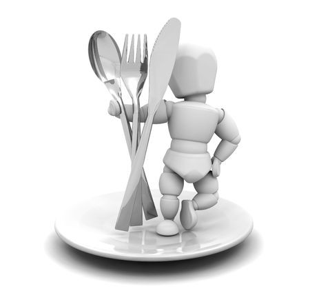 knive: 3D render of someone with cutlery Stock Photo