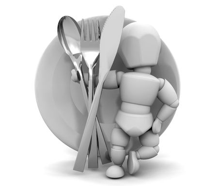 knive: 3D render of someone with a dinner service Stock Photo