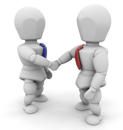 3D render of two businessmen shaking hands Stock Photo - 3292957