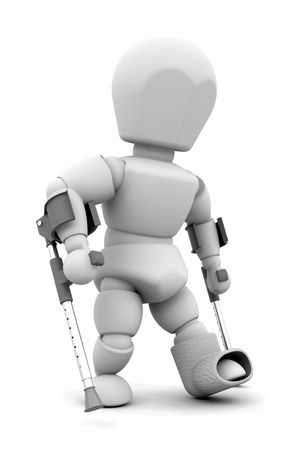 render: 3D render of someone on crutches