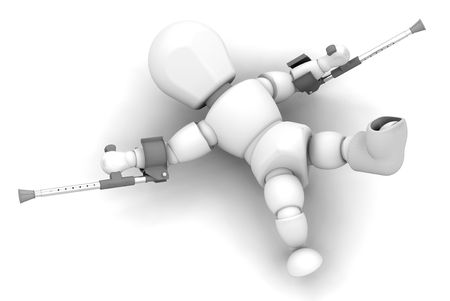 fallen: 3D render of someone on crutches and a plaster cast on foot