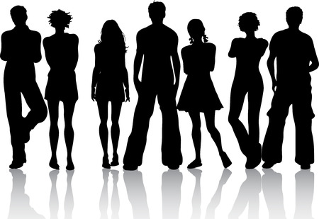 group silhouette: Silhouette of a group of friends
