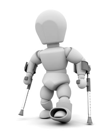 crutches: 3D render of someone on crutches