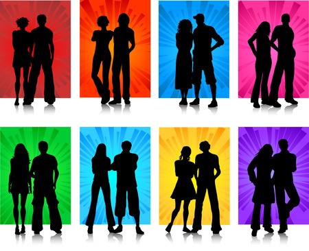 Silhouettes of various couples Stock Vector - 3350440
