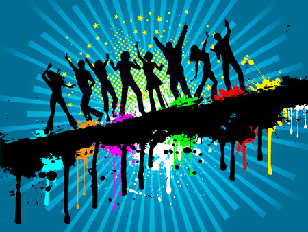 Silhouettes of people dancing on a grunge background Vector