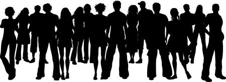 group of objects: Silhouet van een grote menigte van mensen Stock Illustratie