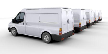 3D render van een vloot van bestelwagens