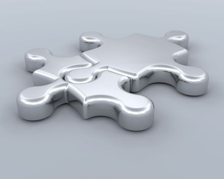missing piece: 3D render of jigsaw pieces connected