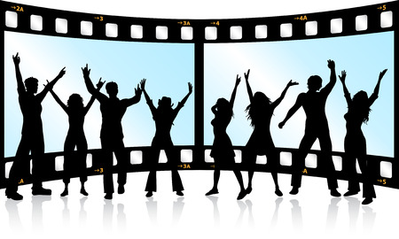 Silhouettes of people dancing on film strip background Vector
