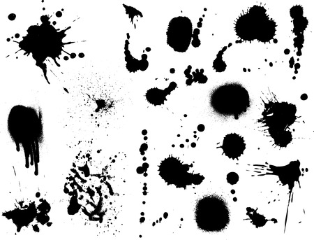 dripping paint: Large collection of detailed ink splats Illustration