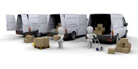 unloading: 3D render of people unloading and loading vans Stock Photo