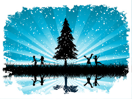 Children playing in snow Stock Vector - 3416940
