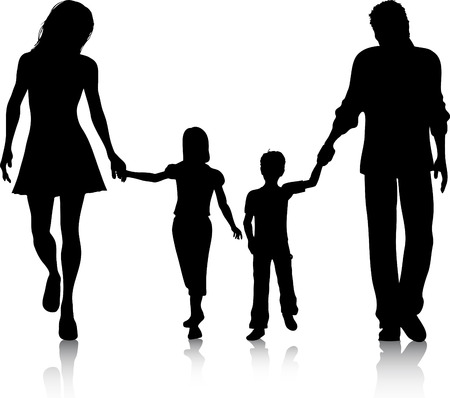 family walking: Silhouette of a family walking hand in hand