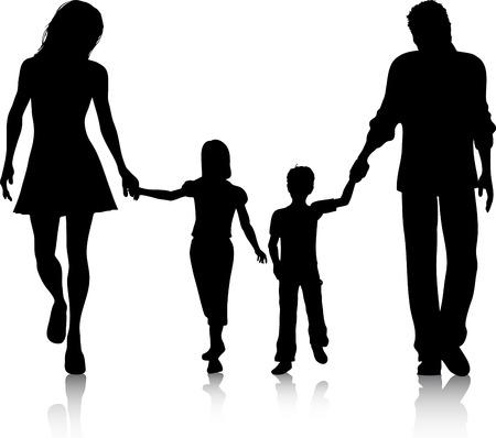 siluetas de mujeres: Silueta de una familia caminando de la mano