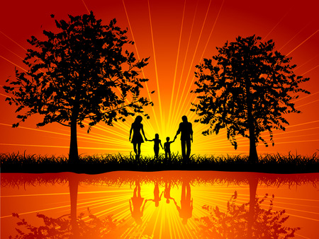 river vector: Silhouette of a family walking outside under trees Illustration