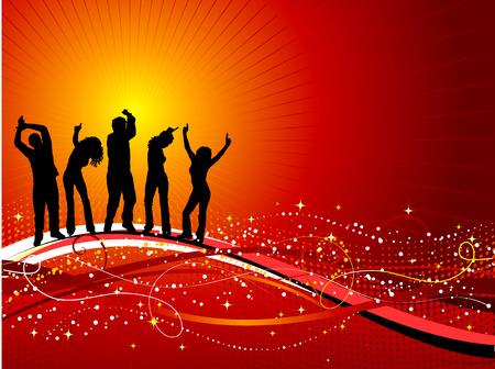 Silhouetten von Menschen tanzen auf dekorativen Hintergrund