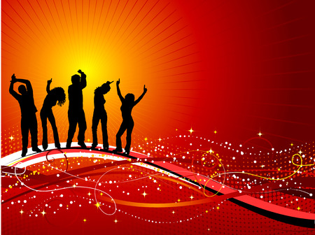 male dancer: Silhouettes of people dancing on decorative background