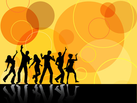 round dance: Silhouettes of people dancing on retro background Illustration