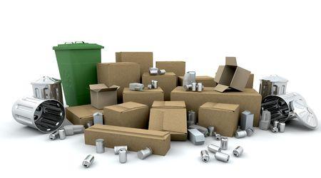 botes de basura: 3D hacen de las cajas, cajas, latas y botes de basura listo para el reciclaje  Foto de archivo