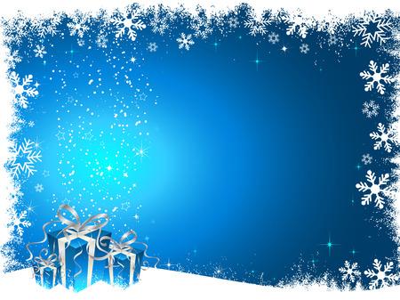 snowy background: En regalos de Navidad cubierto de nieve de fondo  Vectores