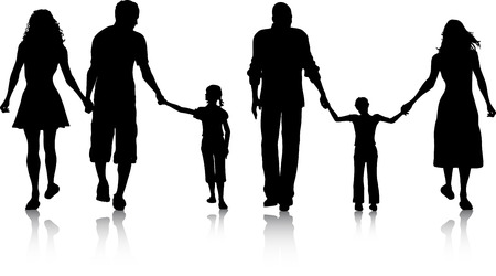 Silhouettes of two families walking Vector