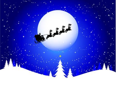 sleigh: Silhouette of santa flying through the sky