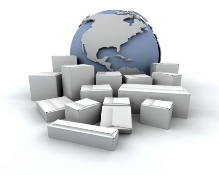 depicting: 3D render depicting global delivery Stock Photo