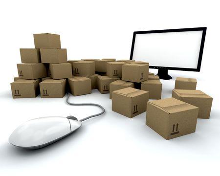 depicting: 3D render depicting online shopping