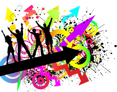 youngster: People dancing on colourful grunge background Illustration