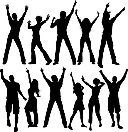 human vector: Silhouettes of people dancing