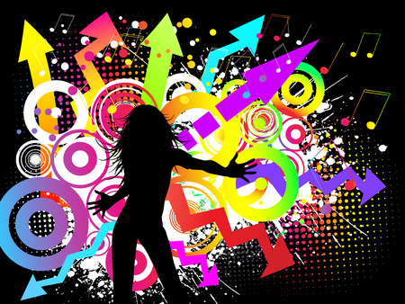 Silhouette of a female on a funky party background Vector