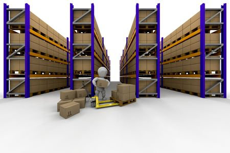shelving: Person stacking boxes in warehouse full of racking Stock Photo