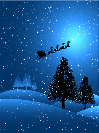 Silhouette of santa flying through the sky on a snowy night
