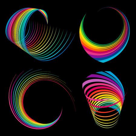 Various abstract rainbow ribbons Vector