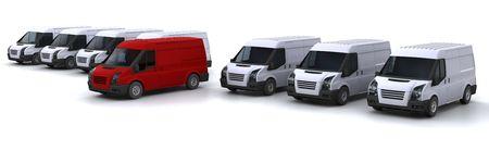fleet: One red van standing out from a fleet of white vans