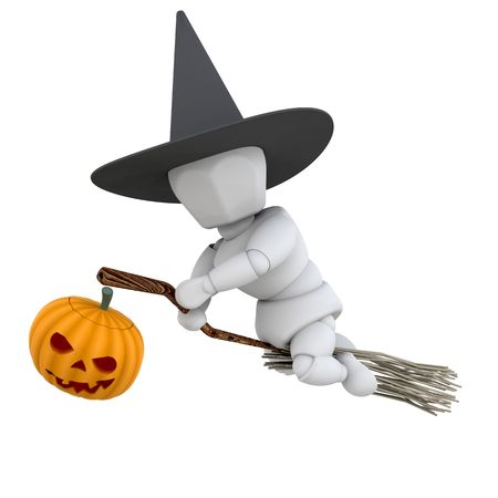 3D render of a witch on a broomstick photo