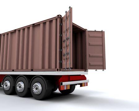 freight container: Contenedor de carga en la parte trasera de un cami�n