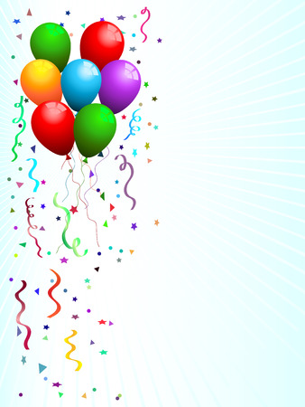 konfeti: Party background with balloons and confetti