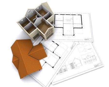 Zeitgenössische Haus auf floorplans Standard-Bild - 3685365