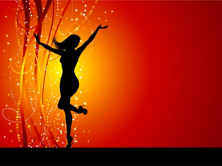 Sexy female dancing on sparkly background