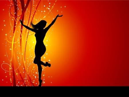 Sexy femmes dansent sur fond brillant