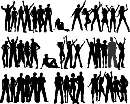 teenagers group: Huge selection of crowds of people Illustration
