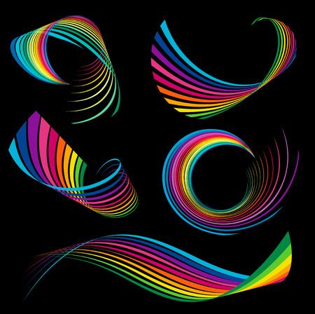 ribbons vector: Abstract rainbow ribbon logos